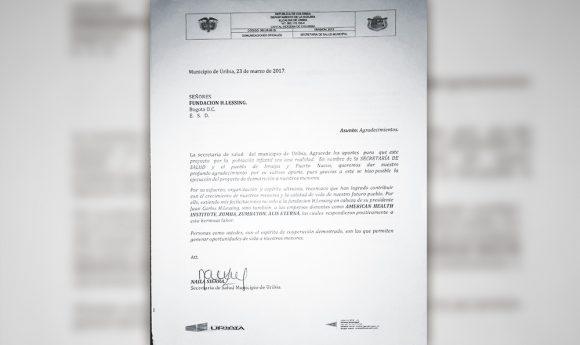 Carta de Agradecimiento Secretaría de Salud de Uribia